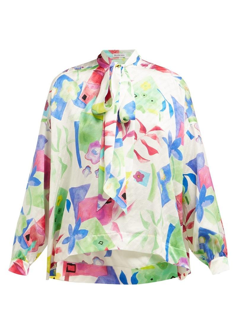 d90f77b756f541 Balenciaga Balenciaga Floral-print logo-jacquard silk blouse ...