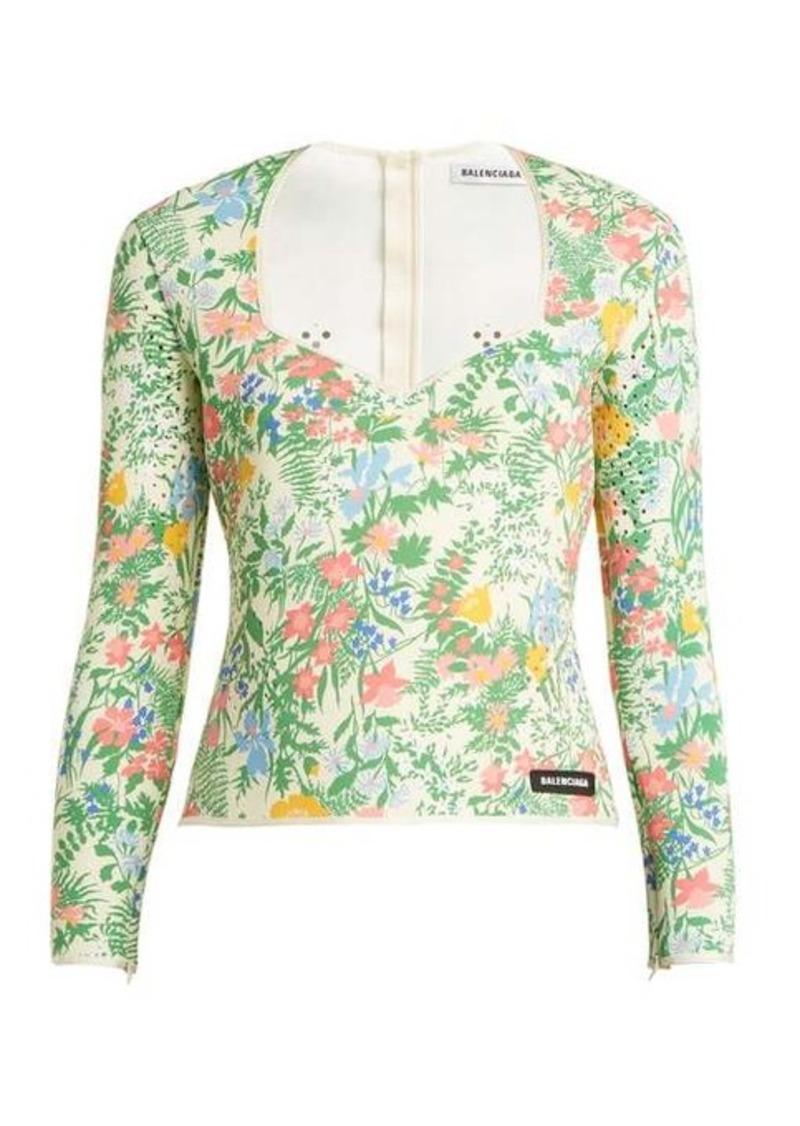 Balenciaga Floral-print neoprene top