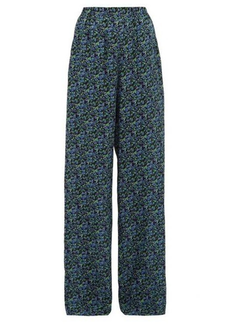 Balenciaga Floral-print silk-crepe wide-leg trousers
