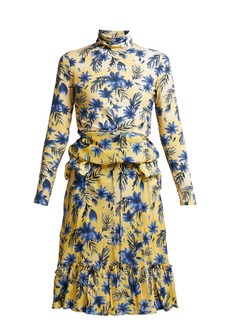 Balenciaga Floral-print stretch-jersey and silk-crepe dress