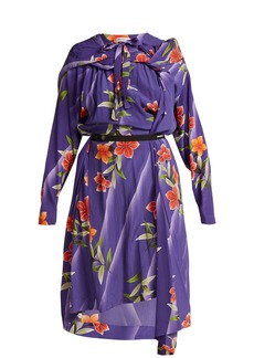 Balenciaga Floral-print twisted silk dress