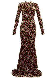 Balenciaga Floral-print velvet maxi dress