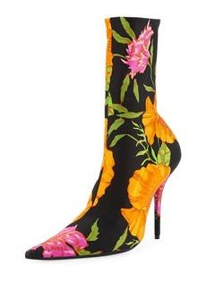Balenciaga Floral Satin Pointed-Toe Bootie
