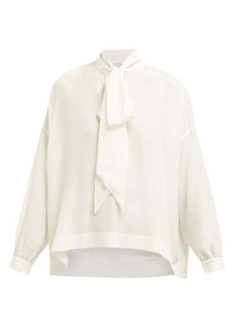 Balenciaga Fluid Vareuse silk-crepe V-neck blouse