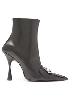 Balenciaga Fringed point-toe leather ankle boots
