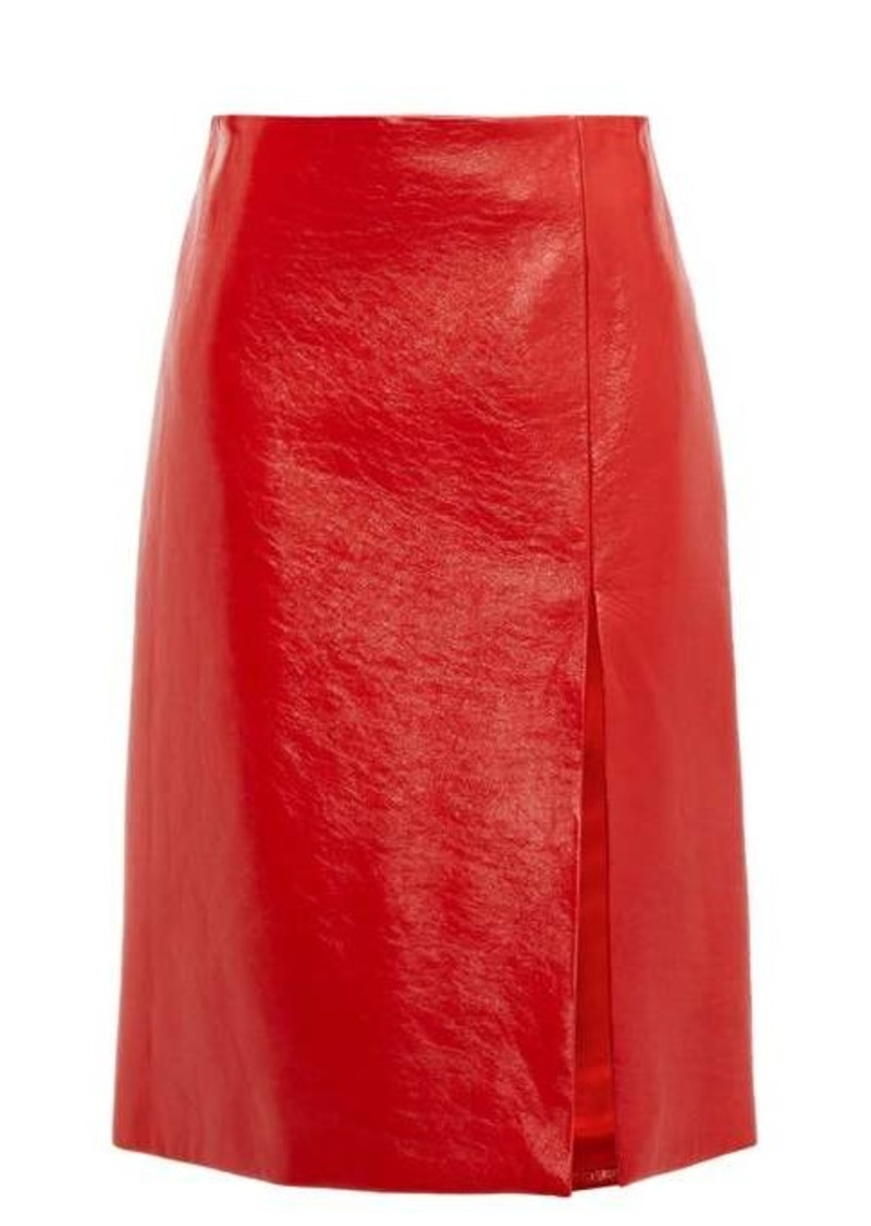 Balenciaga Front-slit cracked patent-leather skirt