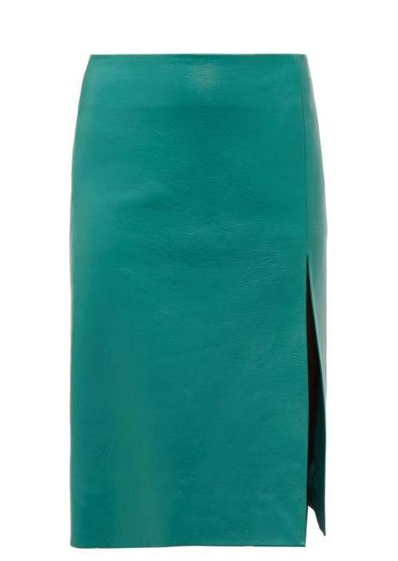 Balenciaga Front-split leather midi skirt