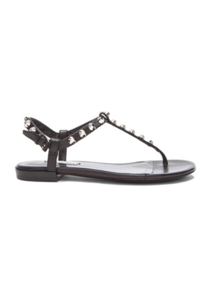 Balenciaga Giant Stud T Strap Leather Sandals