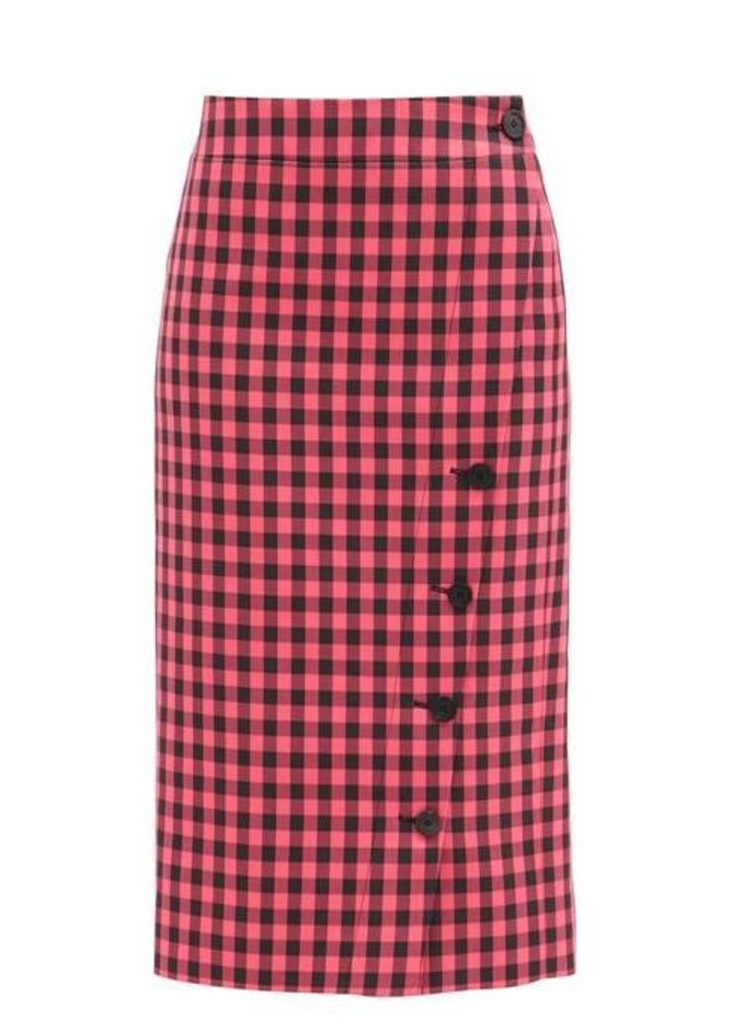 Balenciaga Gingham-check twill pencil skirt