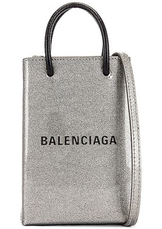 Balenciaga Glitter Shopping Phone on Strap Bag