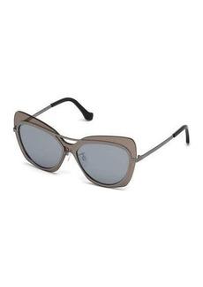 Balenciaga Gradient Metal Squared Aviator Sunglasses