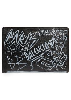 Balenciaga Graffiti Embellished Lambskin Pouch
