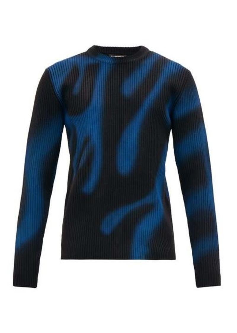Balenciaga Graffiti flame-print ribbed wool sweater