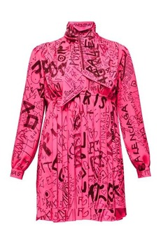 Balenciaga Graffiti-print crepe mini dress