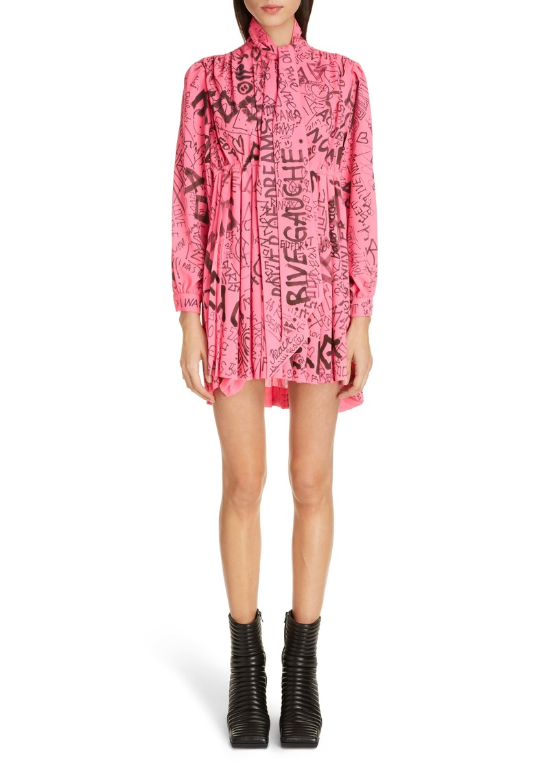 Balenciaga Graffiti Print Crêpe de Chine Long Sleeve Babydoll Dress