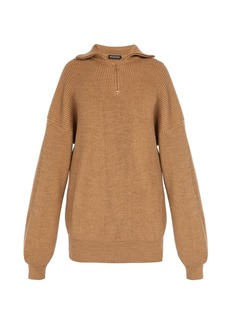 Balenciaga Half-zip wool-blend sweater