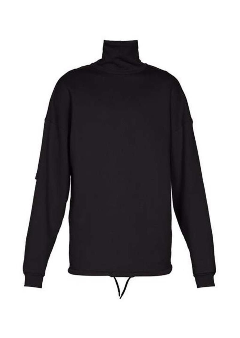 Balenciaga High-neck panelled-sleeve sweater