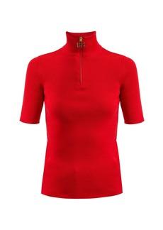 Balenciaga High-neck ribbed-knit cotton-blend top