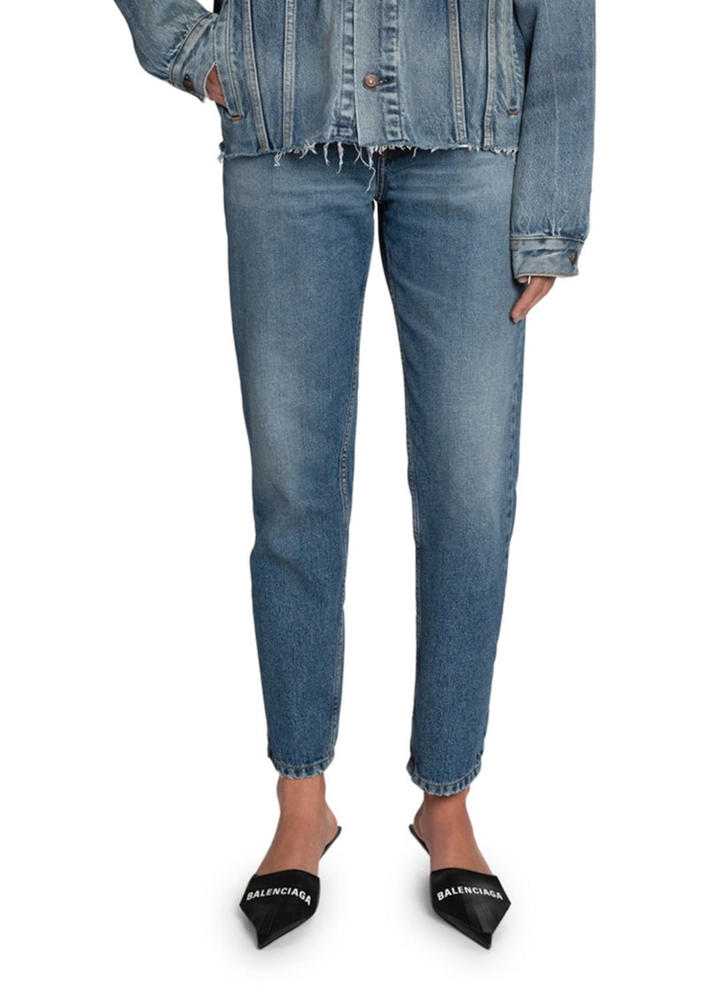 Balenciaga High-Rise Cropped Slim-Leg Jeans