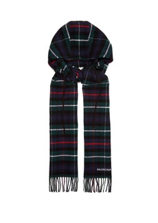 Balenciaga Hooded checked wool scarf