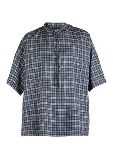 Balenciaga Hooded short-sleeved plaid cotton shirt