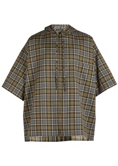 Balenciaga Hooded short-sleeved plaid shirt