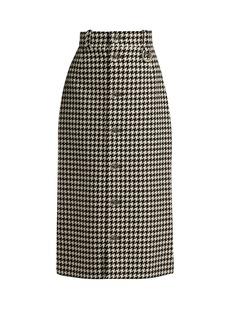 Balenciaga Houndstooth button-down pencil skirt