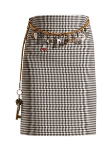 Balenciaga Houndstooth chain-belt pencil skirt