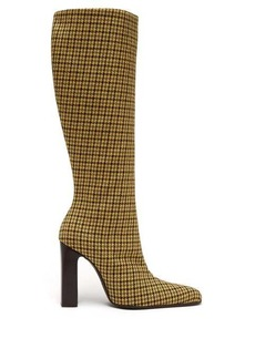 Balenciaga Houndstooth-check tweed boots