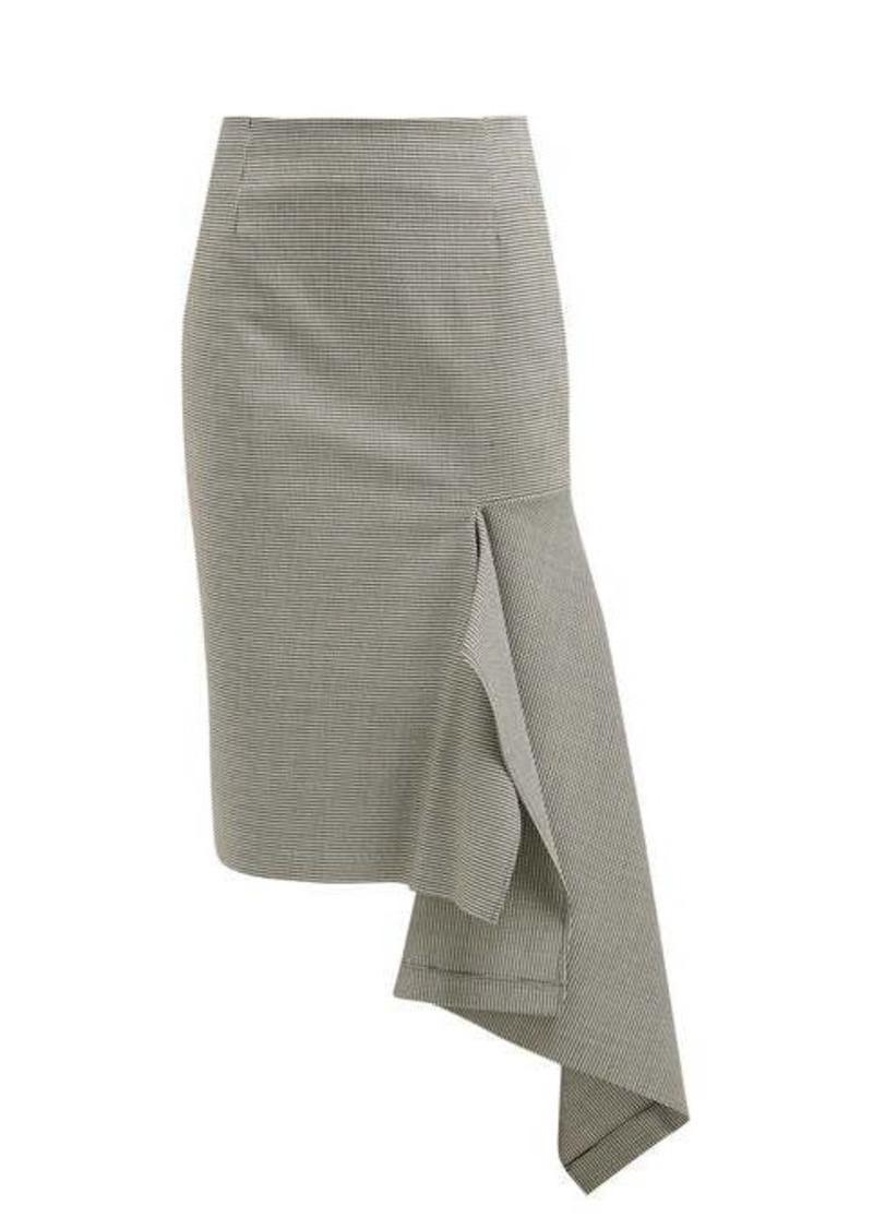Balenciaga Houndstooth wool-blend godet midi-skirt