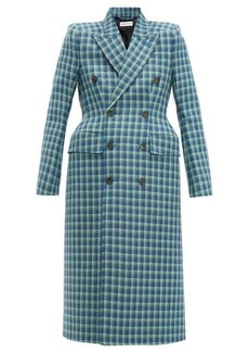 Balenciaga Hourglass checked double-breasted wool coat