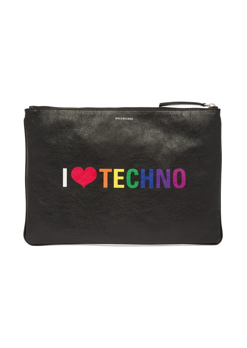 Balenciaga I Love Techno leather pouch
