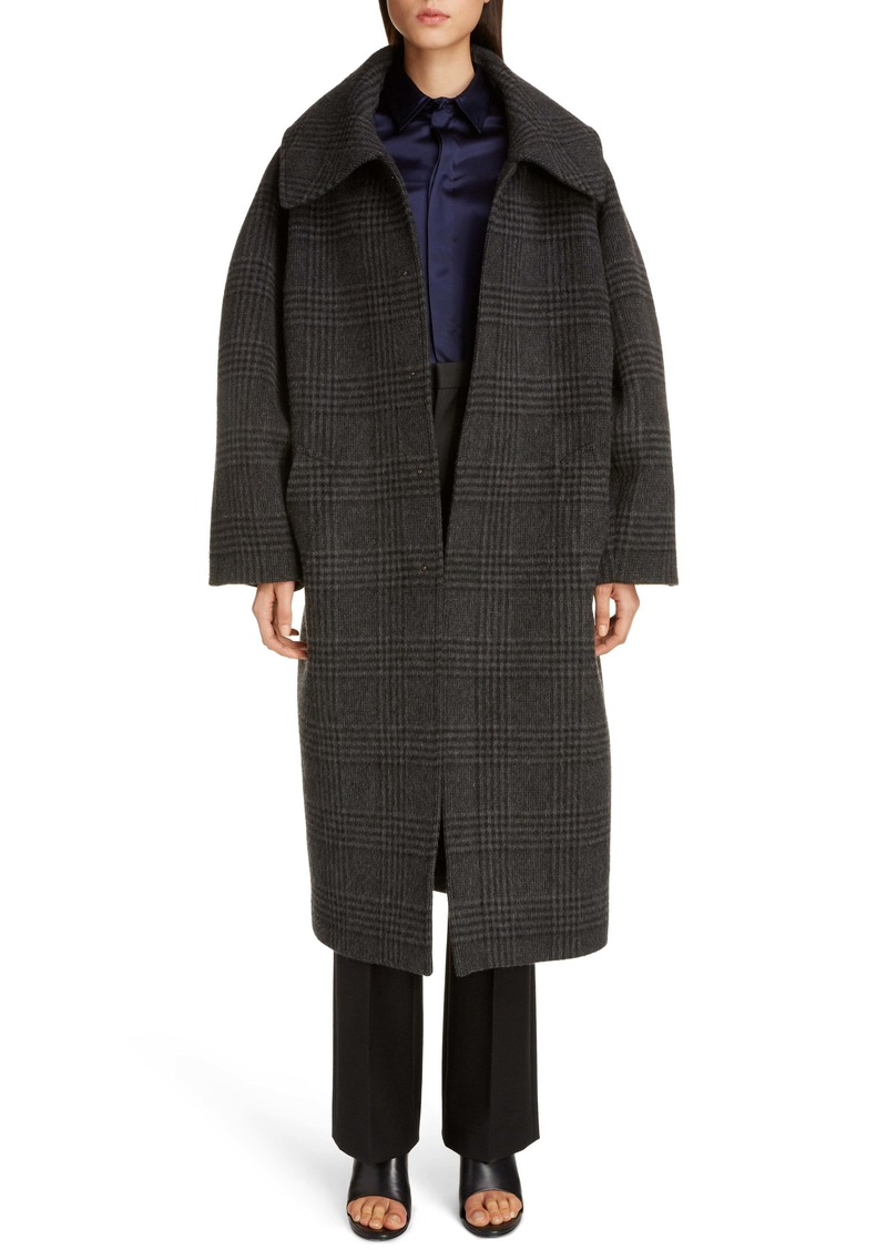 Balenciaga Incognito Glen Plaid Wool Blend Car Coat