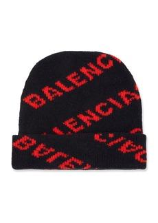 Balenciaga Jacquard Knit Logo Beanie Hat