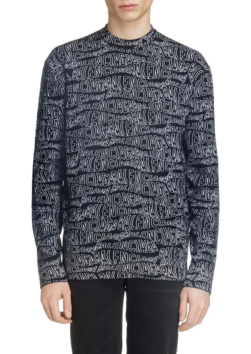 Balenciaga Jacquard Wool Blend Sweater