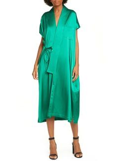 Balenciaga Judo Satin Wrap Midi Dress