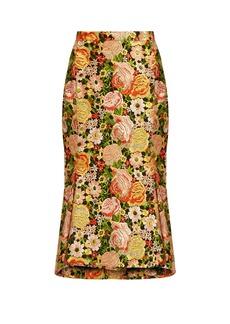 Balenciaga Kick-hem embroidered silk skirt