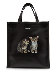 Balenciaga Kitten-print leather tote