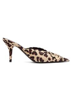 Balenciaga Knife Leopard-print velvet mules