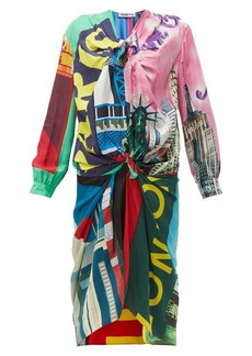 Balenciaga Knotted scarf midi dress