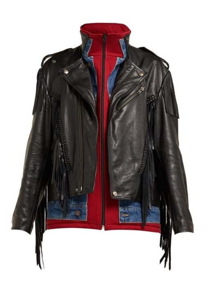 Balenciaga Layered-effect fringed leather biker jacket