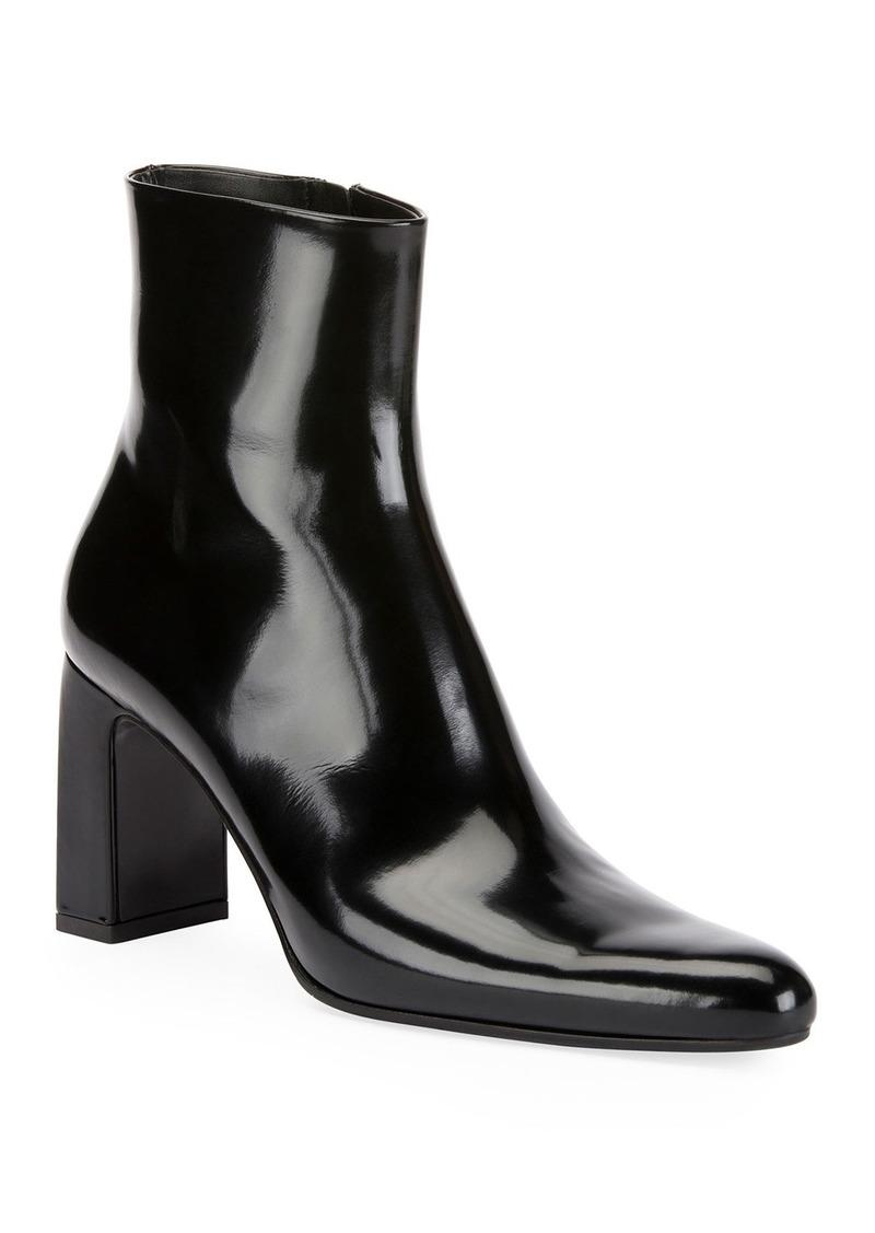 Balenciaga Leather Block-Heel Booties