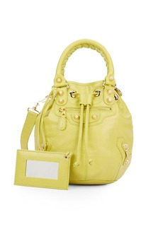 Balenciaga Leather Mini Pompon Bucket Bag