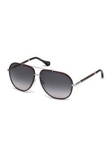 Balenciaga Leather-Trim Aviator Sunglasses