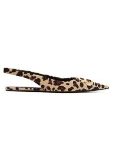 Balenciaga Leopard-print velvet slingback flats
