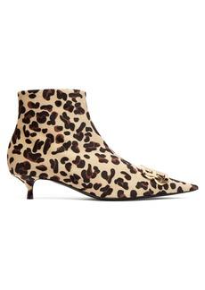 Balenciaga Leopard velvet BB ankle boots