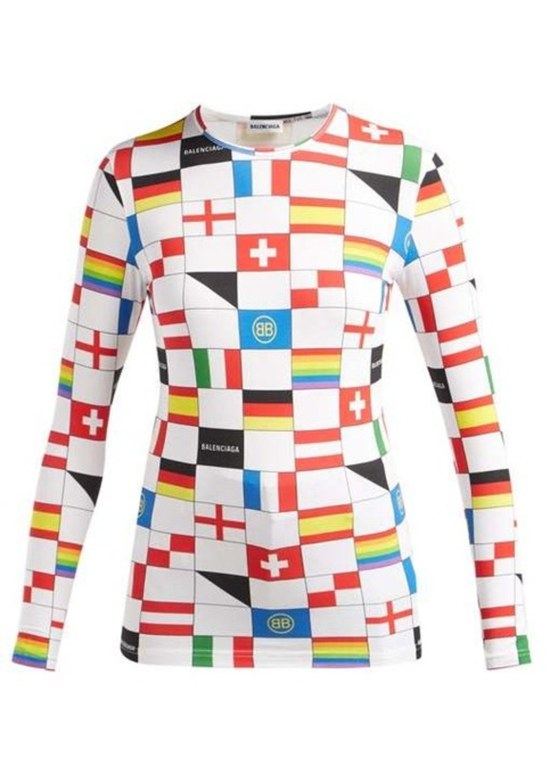 Balenciaga LGBTQ flag-print stretch-jersey top