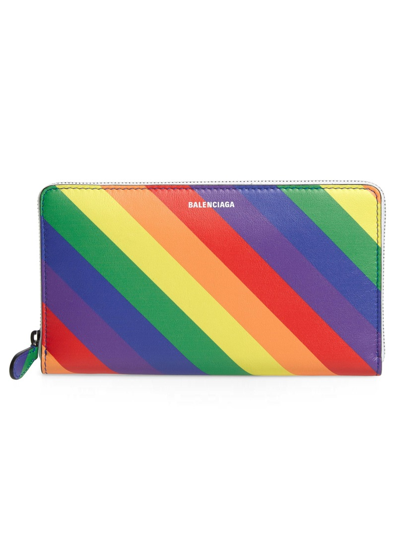 Balenciaga LGBTQIA+ Pride Rainbow Leather Continental Wallet