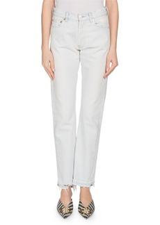 Balenciaga Light-Indigo Straight-Leg Jeans with Frayed Hem