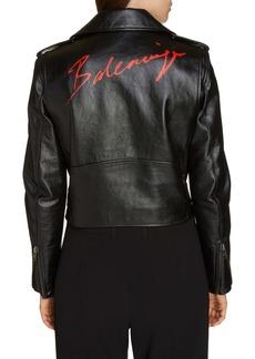 Balenciaga Lipstick Logo Leather Biker Jacket